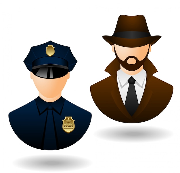 Vector police and detective people icons for avatar Premium Vector