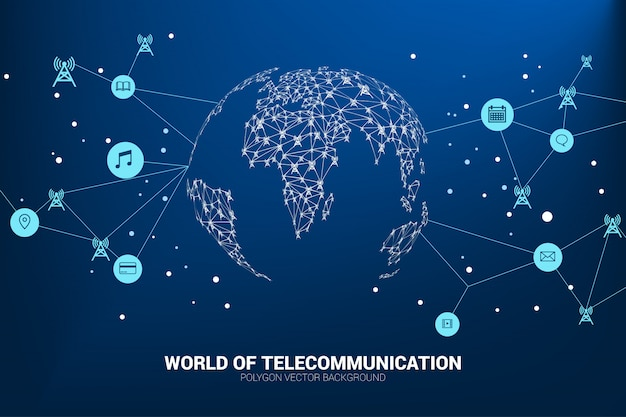 Vector polygon antenna tower icon connect line to world map shape. Premium Vector
