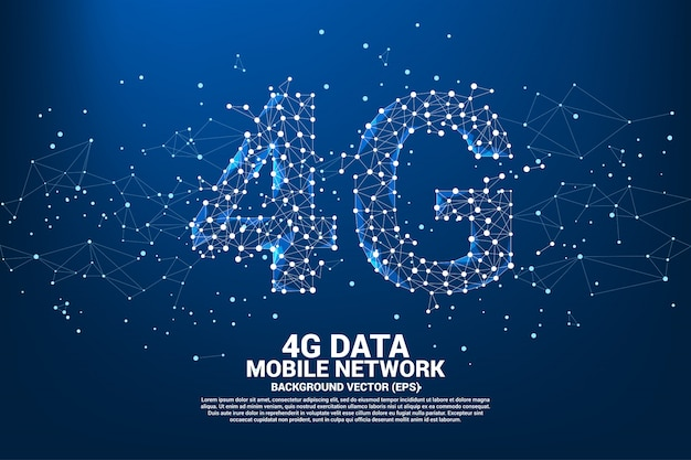 Vector polygon dot connect line shaped 4g mobile network. Premium Vector