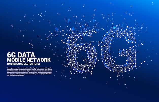Vector polygon dot connect line shaped 6g mobile network