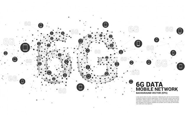 Vector polygon dot connect line shaped 6g mobile network with mobile device icon Premium Vector