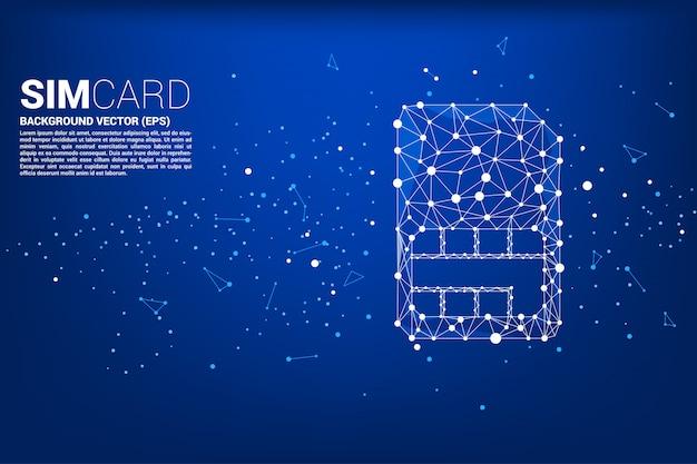 Vector polygon dot connect line shaped sim card icon Premium Vector