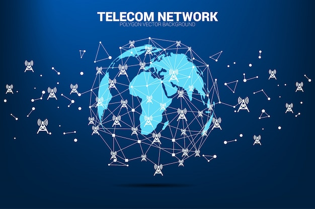 Vector polygon dot connect line with antenna tower icon around world map globe. Premium Vector
