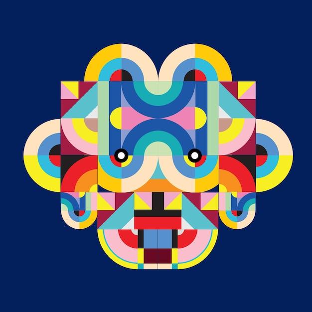 ベクトルポップアート平らな多角形イラストヘッドヤギ Premiumベクター