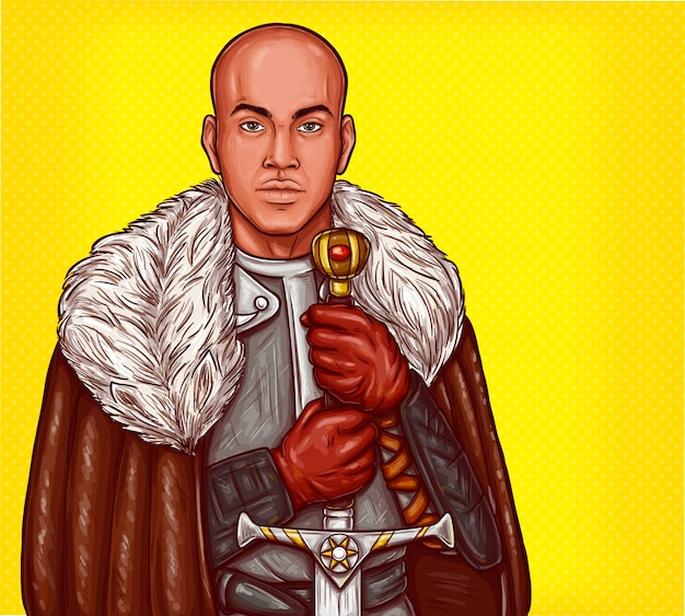 Vector pop art illustration of a medieval knight in steel armor with an iron sword Free Vector