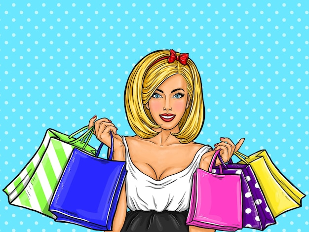 Vector Pop Art Illustration Of A Young Sexy Happy Girl Holding Shopping Bags Vector -5597