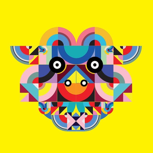 Vector pop art polygonal illustration head of cow Premium Vector