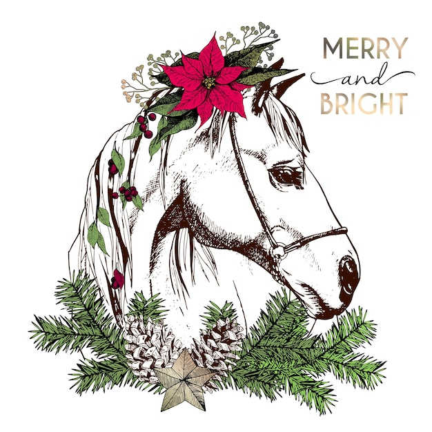 vector portrait of boho christmas horse decorated with winter floral wreath and fir branch - Christmas Horse