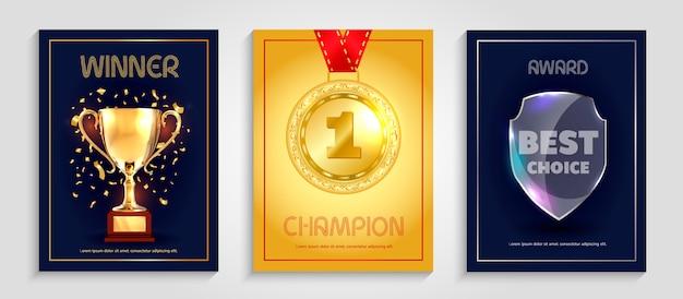 Vector poster design for winner. Premium Vector