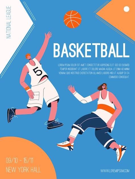농구 내셔널 리그 개념의 벡터 포스터입니다. 공을 가지고 노는 유니폼을 입은 플레이어가 토너먼트에서 경쟁합니다. 스포츠 경쟁의 초대 디자인. 프리미엄 벡터