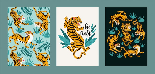 Vector poster set of tigers and tropical leaves. Premium Vector