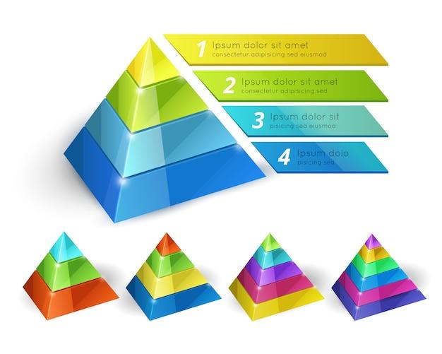 Векторная диаграмма пирамиды изометрическая 3d-шаблоны с вариантами для инфографики и презентаций Бесплатные векторы