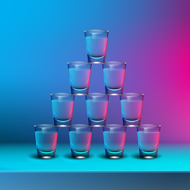 Vector pyramid of transparent alcoholic shots with blue, pink backlights on blur colored background Free Vector