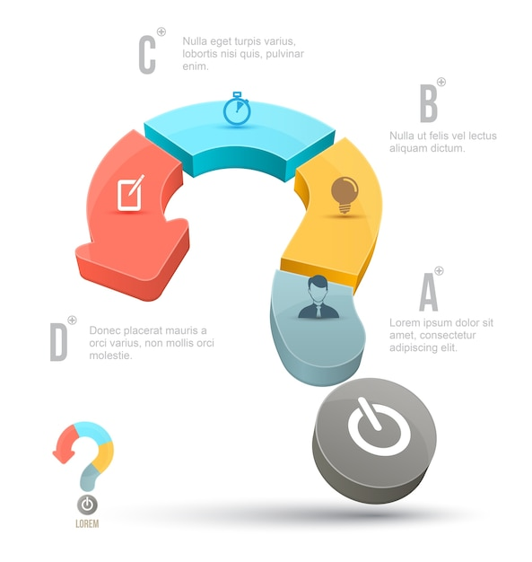 Vector question mark business concepts with icons Premium Vector