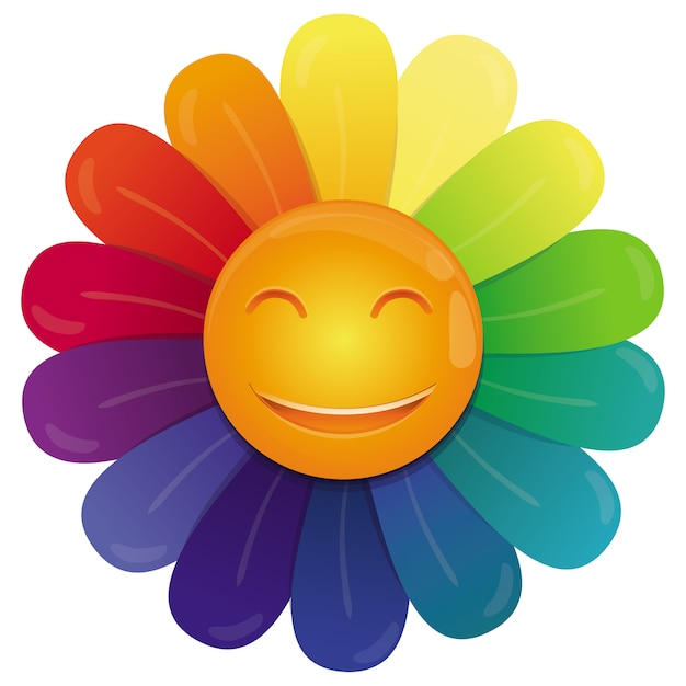 Vector rainbow flower with multi colored petals and funny face Premium Vector