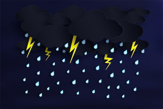 Vector of the rainy season and cloudy with rain is falling. and there's lightning Premium Vector