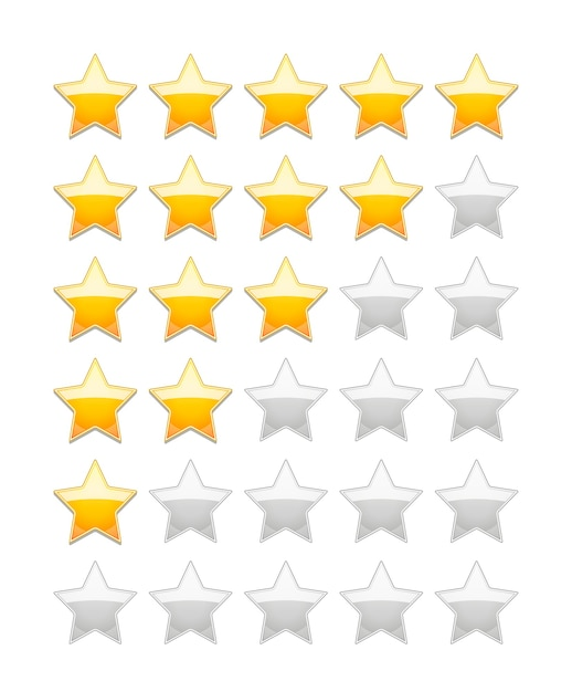 Vector rating 5 stars isolated on white Free Vector
