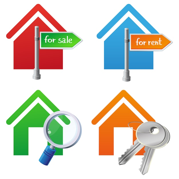 Vector real estate houses icons Premium Vector