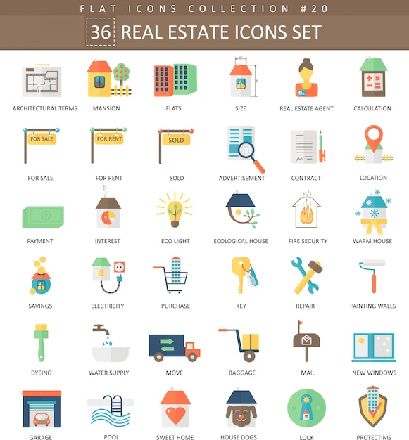 Vector real estates color flat icon set. elegant style design. Premium Vector