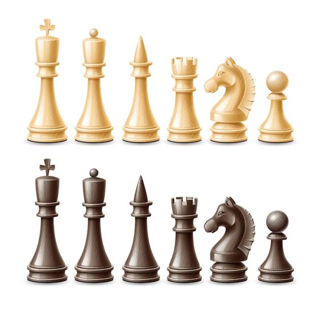 ベクトル現実的な3 dチェスの駒の黒と白のセット Premiumベクター