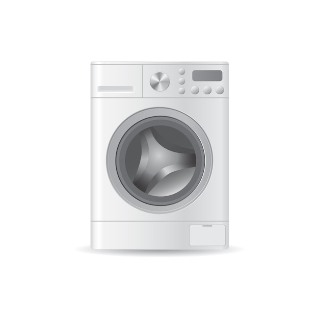 Vector realistic automatic empty washing-machine with front-loading clothes Premium Vector