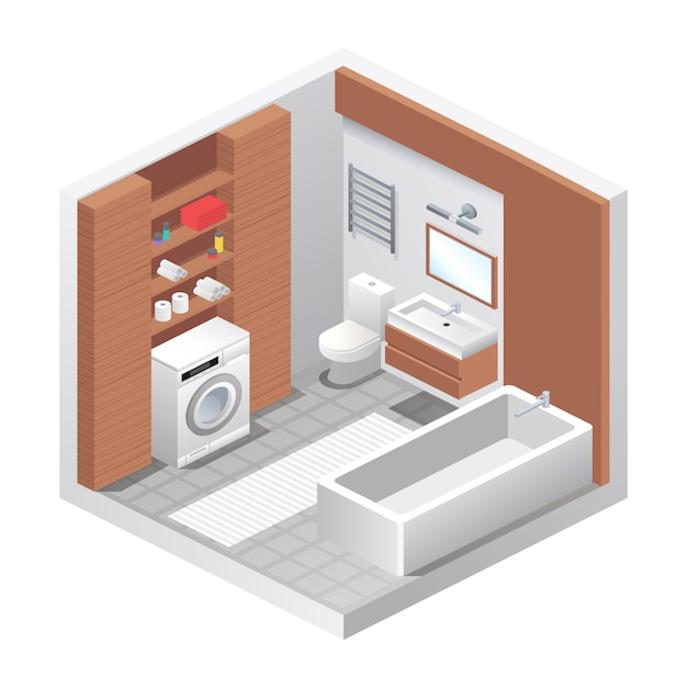 Vector realistic bathroom interior. isometric view of room, bathtub, toilet water closet, washing machine, sink, shelves with towels and home decor. modern furniture design, apartment or house concept Premium Vector