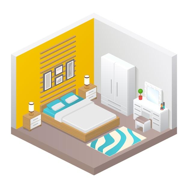 Вектор реалистичный уютный интерьер спальни. изометрический вид комнаты, кровати, шкафа, прикроватных тумб, светильников, стола с зеркалом, пуфика и домашнего декора. современный дизайн мебели, концепция квартиры или дома Premium векторы