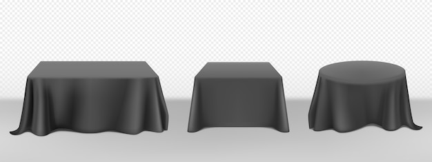 Vector realistic black tablecloth on tables Free Vector