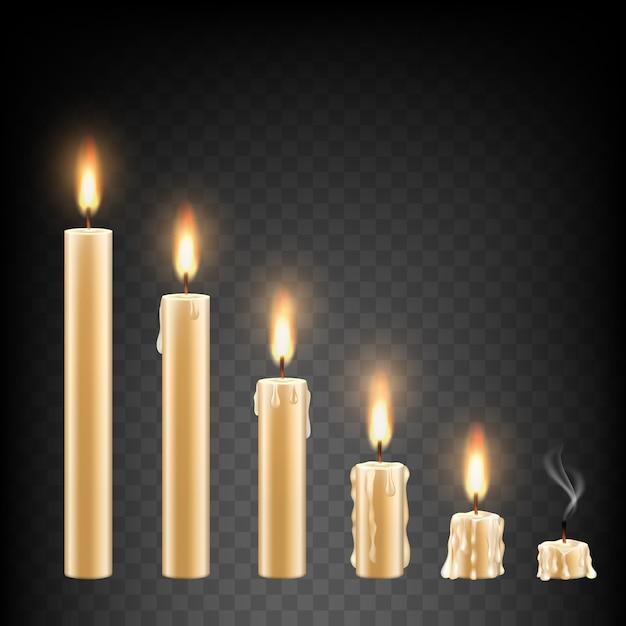 Vector realistic burning candle set Premium Vector