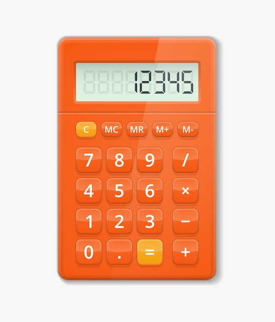 Vector realistic calculator. button electronic, digit calculation, display minus and plus illustration Free Vector