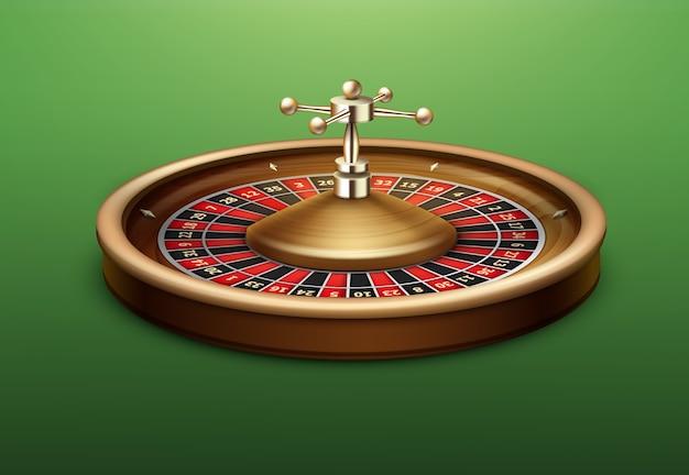 Vista laterale della ruota della roulette del casinò realistico di vettore isolata sul tavolo da poker verde Vettore gratuito