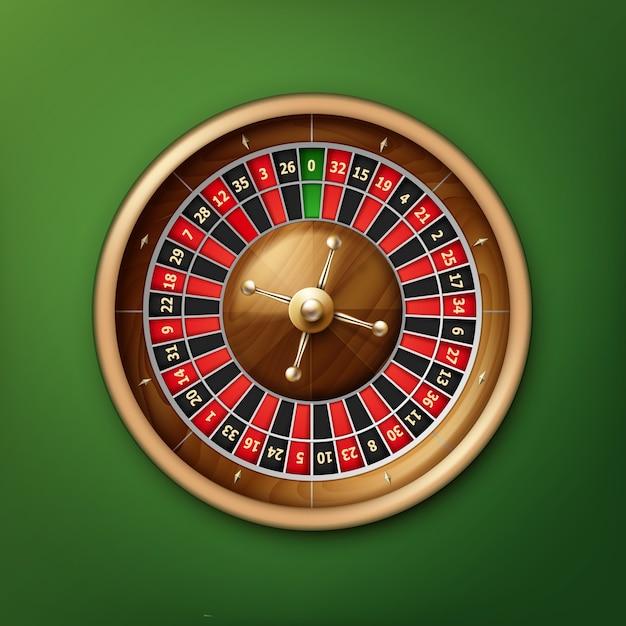 Vista dall'alto della ruota della roulette del casinò realistico di vettore isolata sul tavolo da poker verde Vettore gratuito