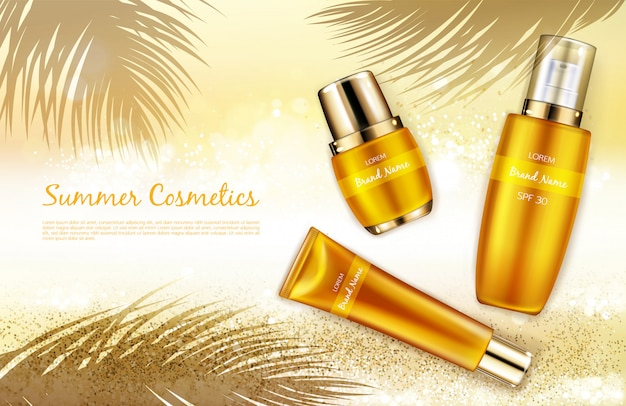 Vector realistic cosmetic background, promo banner for summer spf cosmetics. Free Vector