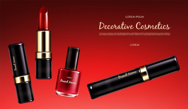 Vector realistic cosmetic promo poster. banner with a female collection of makeup cosmetics, scarlet lipstick, nail polish and mascara on a red background. products for bright makeup Free Vector