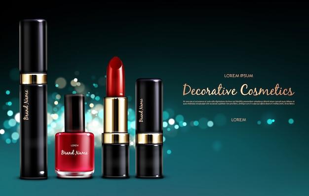 ベクトル現実的な化粧品プロモーションポスター 無料ベクター
