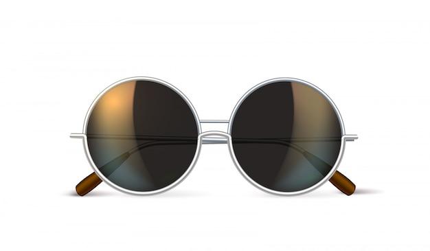 Vector realistic eyeglasses retro circle hipster Premium Vector