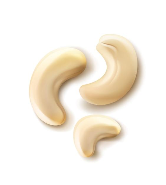 Вектор реалистичные горсть орехов кешью крупным планом вид сверху, изолированные на белом фоне Бесплатные векторы