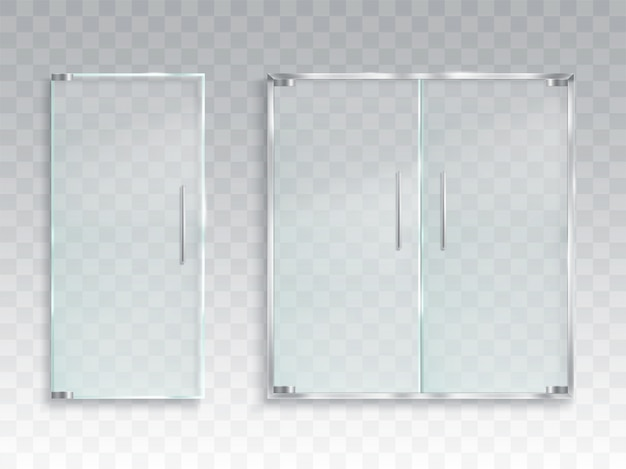 Vector realistic illustration of a layout of an entrance glass door with metal handles Free Vector