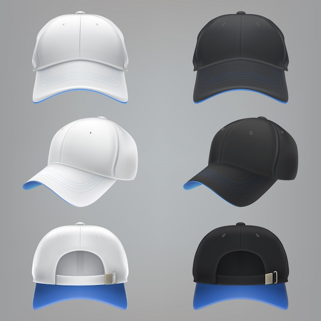 Vector realistic illustration of a white and black textile baseball cap front, back and side view Free Vector