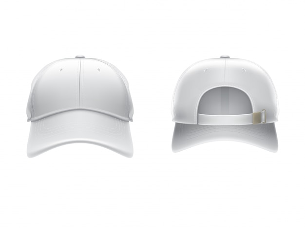 Vector realistic illustration of a white textile baseball cap front and back Free Vector
