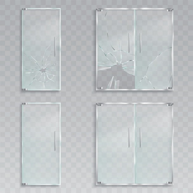 Vector realistic illustrations of a layout of an entrance glass doors with metal handles unscathed and broken glass Free Vector