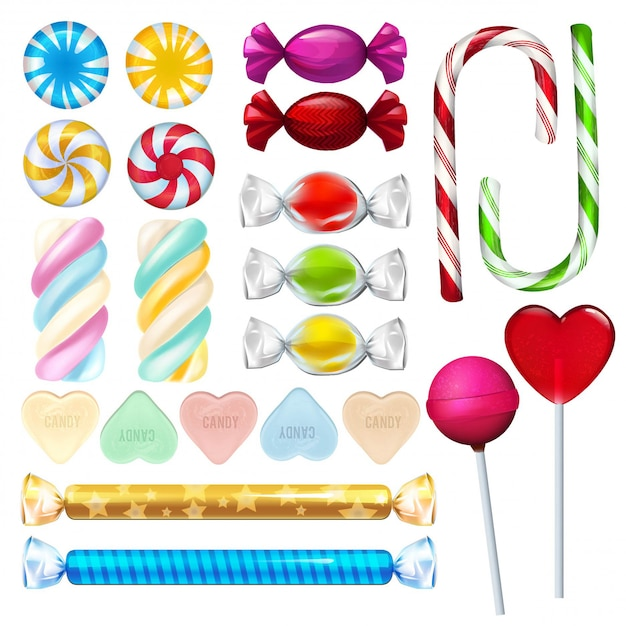 Vector realistic illustrations of sweets and candy Premium Vector