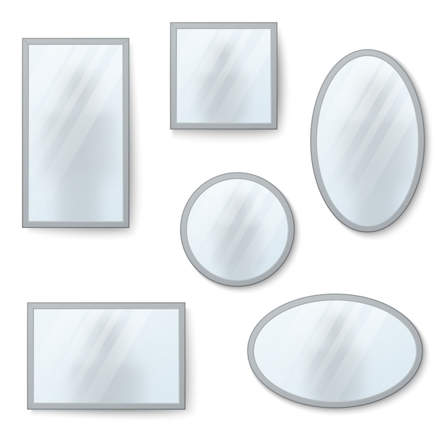 Vector realistic mirrors set with blurry reflection Premium Vector