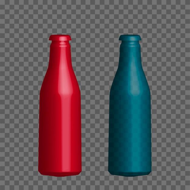 Vector realistic mock up bottle of mineral water, juice. Premium Vector