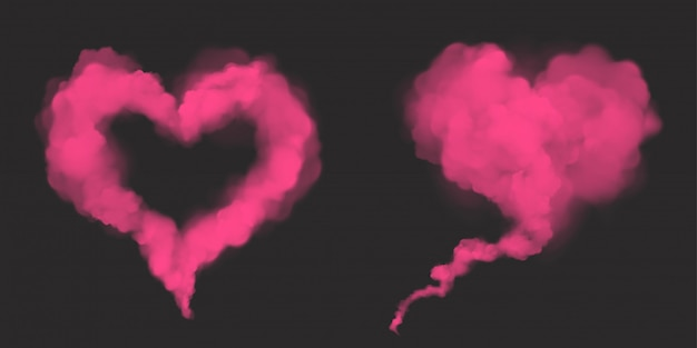Vector realistic pink smoke in heart shape Free Vector