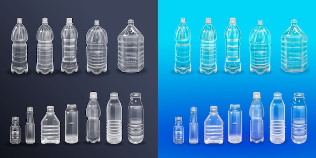 Vector realistic plastic container mineral water bottle beverage label isolated empty plastic water bottle beverage drinking mineral vector plastic object Premium Vector