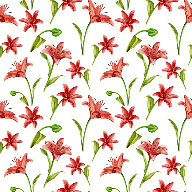 葉のシームレスなパターンを持つベクトル現実的な赤いユリの花 Premiumベクター