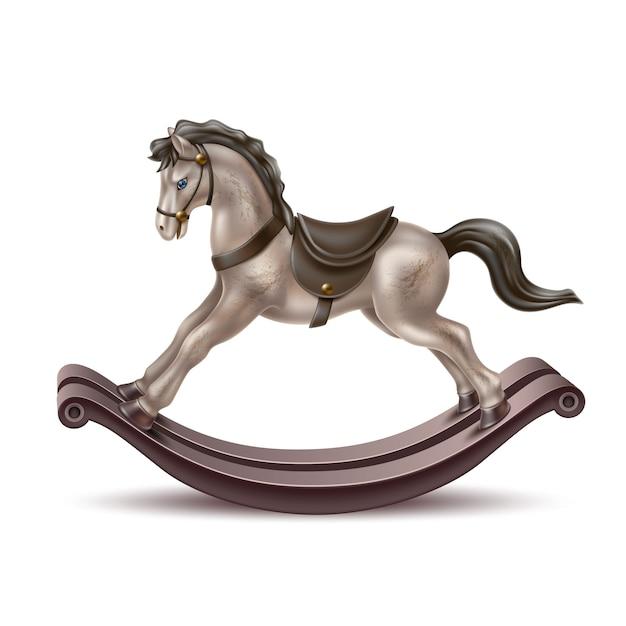 Векторные реалистичные лошадка-качалка Premium векторы