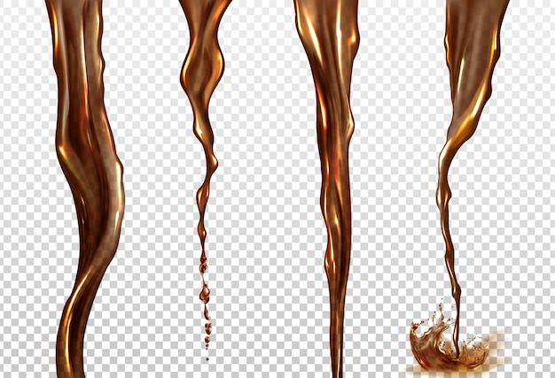 Вектор реалистичный всплеск и поток колы или кофе Бесплатные векторы