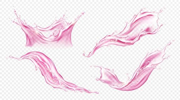 주스 또는 분홍색 물 벡터 현실적인 스플래시 무료 벡터